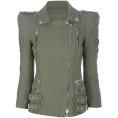 BALMAIN Padded shoulder army jacket found on Polyvore