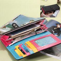 2017 High quality 5 Colors brand Fashion PU Soft Leather Wallet Women Clutch Candy Purse Zipper long wallets Women Coin Purse