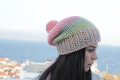 Hand knitted women's beret with batik design yarn made of light green, pink, lilac colors. Lilac Color, Beige Color, Red Berets, Pink Beanies, Pom Pom Hat, Light Colors, Hand Knitting, Knitted Hats, Wool