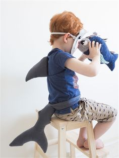 Shark Tail & Fin Set - Under the sea kids party - shark costume - book week