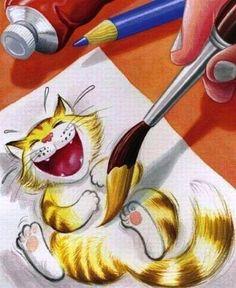 Chat chatouilleux sous le pinceau du dessinateur.