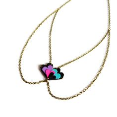 Neon Chain Collar Necklace Leather Heart Pendant