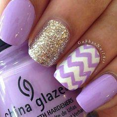 Purple , Glittery , Chevron Nails