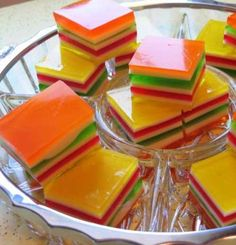 Recipe for Layered Finger Jello - When I was a kid, I remember always going straight for the jello if it was being served.  My favorite was layered jello that was firm enough to be held in your hand, not jello eaten from a bowl with a spoon.  My aunt was kind enough to give me the recipe she used since she knew how much I loved it!