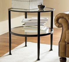 in between 2 chairs in living room? Tanner Round Side Table #potterybarn