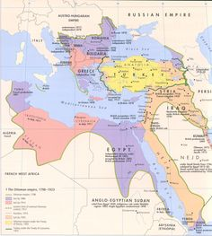 The Ottoman Empire 1798 - 1923 map