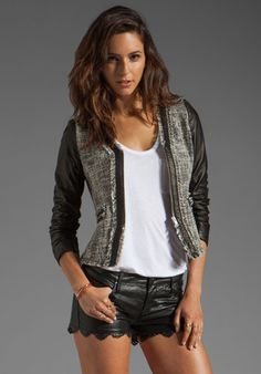REBECCA TAYLOR Tweed & Leather Jacket in Pebble at Revolve Clothing - Free Shipping!
