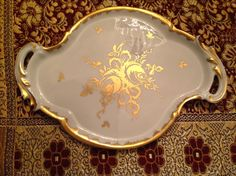 Unusually shaped Limoges for Birks serving tray, Christmas Antique Market, $12.50.
