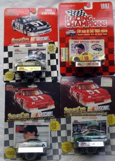 Lot 4 Cars Racing Champions Bodine Hamilton Bensen Wallace NASCAR 1/64 Diecast
