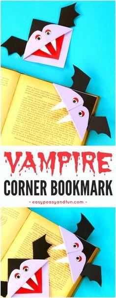 Vampire corner bookmark. Fun Halloween paper craft for kids to make.