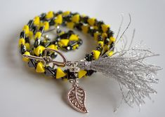 Your place to buy and sell all things handmade Triple Wrap, Beaded Wrap Bracelets, Jewelry Accessories, Unique Jewelry, Yellow Black, Etsy Shop, Trending Outfits, Handmade Gifts, Glass