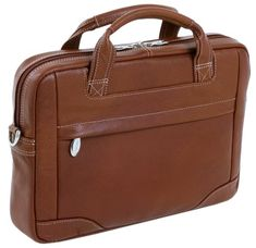 McKleinUSA BRIDGEPORT 15474L Brown Leather Large Laptop Brief Pebble Grain Calfskin Leather. Front zipper pocket holds small accessories.. Main compartment also features a built-in padded laptop sleeve that fits and protects most laptops up to 17 in screen size..  #McKleinUSA #Personal_Computer