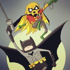 Bat man and Robbin fin and jake