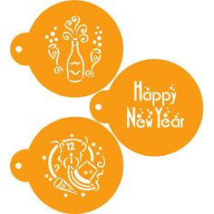 Happy New Year Cookie Stencils (Stencils). Happy New Year Cookie Stencils (set of three) are designed to fit on a round or larger cookie. The stencil designs are approximately We make circle cookie cutters in many sizes. New Years Cookies, New Year's Eve Appetizers, New Year's Food, Orange You Glad, Recipe Details, Stencil Designs, Cookie Decorating, Decorating Tips, New Years Eve Party