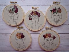 Floral Crown Embroidery 'Macie' in Blueberry 3 inch Hoop Art Learn Embroidery, Embroidery Hoop Art, Cross Stitch Embroidery, Cross Stitch Patterns, Cross Stitching, Stitching Patterns, Flower Embroidery, Hand Embroidery Tutorial, Hand Embroidery Patterns
