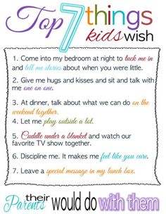 Top Seven Things Kids Wish their Parents Would do with Them