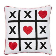 Levtex 'Tic Tac Toe' Accent Pillow found on Polyvore featuring home, home decor, throw pillows, pillow, red, red toss pillows, red accent pillows, plush throw pillows, square throw pillows and red home decor