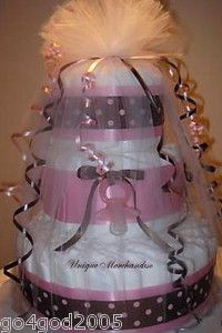 baby shower diaper cakes for girls | Precious Diaper Cake for A Girl Baby Shower Centerpiece Favor ...