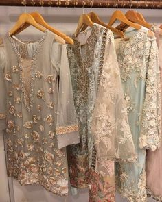 """Pastels done right by ✔️ get your hands on these at her Shadi Dresses, Pakistani Formal Dresses, Pakistani Party Wear, Pakistani Wedding Outfits, Pakistani Couture, Pakistani Dress Design, Indian Dresses, Indian Outfits, Kaftan"