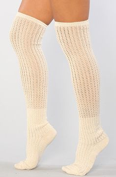 Free People The Open Knit Slouch Over The Knee Sock in Ivory : Karmaloop.com - Global Concrete Culture
