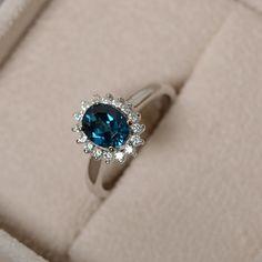Anillo de topacio azul de Londres plata piedras preciosas