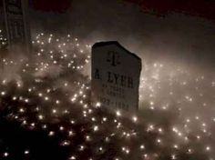 Halloween cemetery-something different with net lights.by Halloween Forum member Kritze Really like this idea. Outdoor Halloween Parties, Casa Halloween, Halloween Outside, Halloween Forum, Halloween Party Supplies, Halloween Yard Decorations, Theme Halloween, Halloween Projects, Holidays Halloween