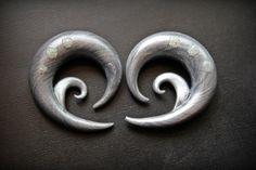 Moonwind 00g Metallic Silver Spiral Polymer Clay Plugs. $23.00, via Etsy.