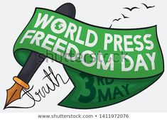 Commemorative ribbon over a elegant fountain pen ready to say the truth and supporting speech freedom during World Press Freedom Day celebration in May Freedom Day, World Press, Fountain Pen, New Pictures, Royalty Free Photos, Celebration, Ribbon, Elegant, Image