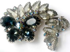 Juliana Blue Butterfly Brooch and Earring Demi Parure Delizza and Elster High Fashion Jewelry by JewelryQuestDesign, $82.99
