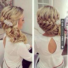 Wedding hair, bridesmaid hair, hair do Wedding Hairstyles For Women, Homecoming Hairstyles, Fancy Hairstyles, Braided Hairstyles, Hairstyle Ideas, Braided Updo, Hairstyle Braid, Bridal Hairstyle, Braid Hair