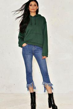 fd613daf8dbe1 Nasty Gal Betsy Cropped Jeans Fringe Hem Jeans