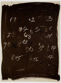 """justanothermasterpiece: """" Antoni Tàpies, Llambrec Material 3 / Material Glance3. Original color lithograph, 1975. """""""