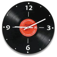 Vintage vinyl LP record wall clock made out of a real record album. Vinyl Record Projects, Vinyl Record Art, Record Wall, Vinyl Art, Cool Clocks, Unique Wall Clocks, Diy Wall Clocks, Lps, Old Vinyl Records
