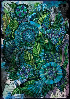 Doodle flowers by balabolka, via Behance