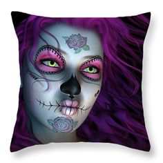 Throw Pillows - Sugar Doll Purple Throw Pillow by Todd and candice Dailey