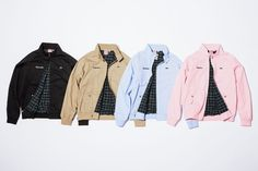 Lacoste and Supreme are teaming up for a super cool and preppy collection featuring pieces like these jackets, sweaters, pants, and more.