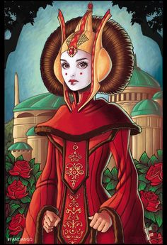 chrissiezullo:  I can now show my Women of Star Wars posters commissioned by Fandango! Here is the first one, of Padme Amidala. You can see the pieces in full along with a write-up here: http://www.fandango.com/movie-news/star-wars/exclusive-artwork-women-of-star-wars-750043