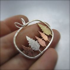 Mixed Metal Conifer Forest Pendant by Beth Millner Jewelry