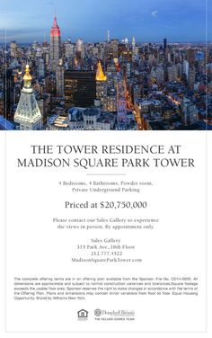 PRCED AT $20.75 MILLION, THE TOWER RESIDENCE AT MADISON SQUARE PARK TOWER