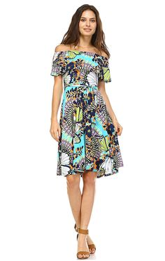 Zoozie LA Women's Off The Shoulder Knee Length Dress * Click image to review more details.