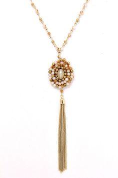 Collar Largo Rosa/Dorado ,Chic Bazaar