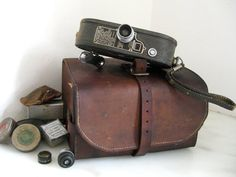 30s movie camera and leather case with 79 by VintageVagabondToo
