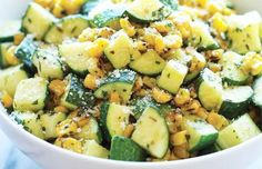 Parmesan Zucchini and Corn Easy vegetable side dish! PARMESAN ZUCCHINI AND CORN = 2 T olive oil 2 cloves garlic 4 zucchinis, diced 1 cup corn kernels, frozen, canned or roasted t dried basil t dried oregano t dried thyme Kosher salt and freshly Easy Vegetable Side Dishes, Vegetable Sides, Veggie Dishes, Vegetable Recipes, Food Dishes, Vegetarian Recipes, Cooking Recipes, Healthy Recipes, Healthy Zucchini Recipes