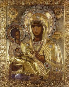 """Bogorodica Trojeručica """"Three-handed Theotokos"""" or simply Trojeručica  is a famous wonderworking icon in the Serb Orthodox monastery of Hilandar on Mount Athos, Greece. It depicts Theotokos (Virgin Mary) with young Jesus in the hodegetria position, and is covered with a riza. It is the most important icon of the Serbian Orthodox Church. On the back of the icon is the painting of St Nicholas."""