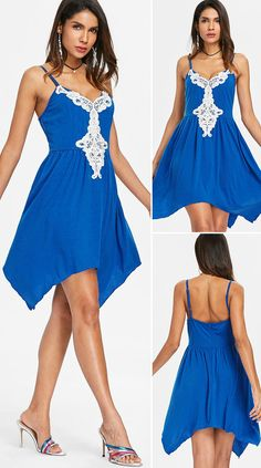 Open Back Applique Knee Length Dress Outfits Dress, Casual Dresses, Casual Outfits, Sales, Asymmetrical Dress, Going Out, Spring Summer, Beautiful, Women