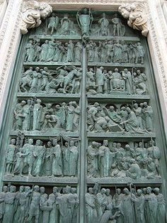 The Door of the Duomo of Milan, Milan, Lombardy, Italy