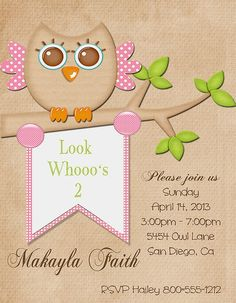 Deb's Party Designs - Owl Whoo's Two Birthday Invitation, $1.00 (http://www.debspartydesigns.com/owl-whoos-two-birthday-invitation/)