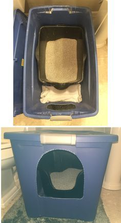 Homemade litter box from a large storage container. Made