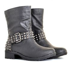 Harley Black Faux Leather Stud Buckle Biker Boots ($49) ❤ liked on Polyvore featuring shoes, boots, chaussures, scarpe, botas, studded moto boots, black engineer boots, vegan motorcycle boots, black buckle boots and black motorcycle boots