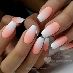68 Ideas Nails Acrylic Ombre Peach For 2019 The Effective Picture. - 68 Ideas Nails Acrylic Ombre Peach For 2019 The Effective Pictures We Offer You Abou - White Nail Designs, Acrylic Nail Designs, Fake Nail Designs, Ombre Nail Designs, Stylish Nails, Trendy Nails, Fancy Nails, Peach Nails, Orange Ombre Nails
